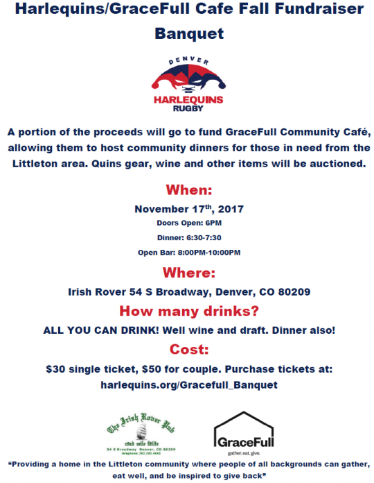 Harlequins GraceFull Cafe Fundraiser @ The Irish Rover Pub | Denver | Colorado | United States